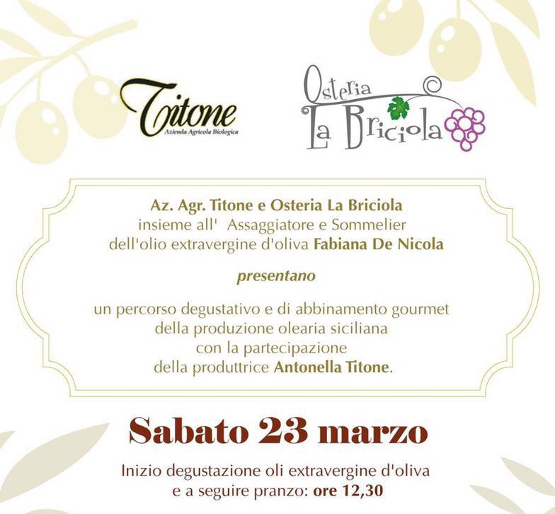A pranzo da Osteria La Briciola con l'olio extravergine d'oliva Titone!